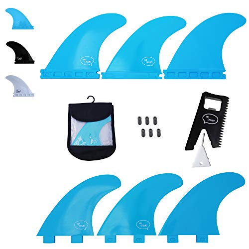Ho Stevie! Fiberglass Reinforced Polymer Surfboard Fins - Thruster (3 Fins) FCS or Futures Sizes, Choose Color (Aqua, FCS)