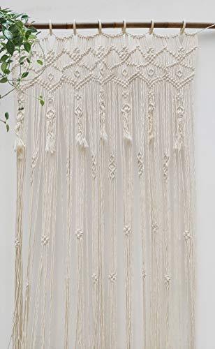 "RISEON Large 37"" W x 82"" L Handmade Macrame Wedding Backdrop, Macrame Wedding Arch Arbor, Macrame Wall Hanging,Macrame Door Hanging,Room Divider,Macrame Curtains,Window Curtain Boho Wall Art"
