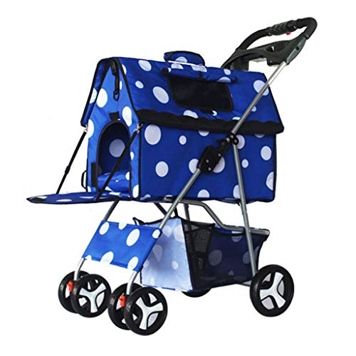 ZMYTS Pet Kinderwagen Hundewagen Faltbare Abnehmbare Und Waschbar Split Pet Car Bag, Teddy Dual-Zweck Doghouse Vierrädrigen Wagen (Color : Blue)