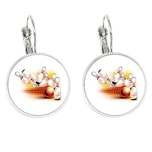 Casual/sportliche Bowling-Ohrringe, farbige Glaskuppel, Clip-Ohrringe für Sport, Frauen, Schmuck, Geschenk
