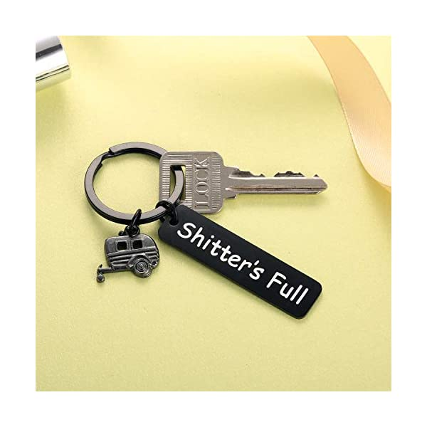 Camping Accessories for RV Inside Happy Camper Owner Gifts Shitters Full Keychain with Travel Trailer Charm Black for Men