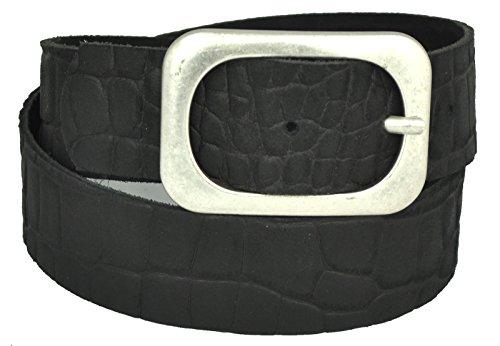 Dayneq 5cm Breit Leder Guertel Altsilber Nickel Free Schnalle-Kroko Optic Schwarz-90cm Bundweite