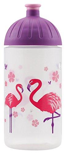 ISYbe Original Marken-Trink-Flasche für Klein-Kinder, 500 ml, BPA-frei, Flamingo-Motiv für Mädchen & Jungen für Schule-Reisen-Kita-Kiga-Outdoor, Auslaufsicher auch mit Sprudel, Spülmaschine-fest