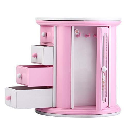 Musikbox, kleine Aufbewahrungsbox für Schmuck mit Schubladen, rund, Musikbox, Make-up-Spiegel, Rosa