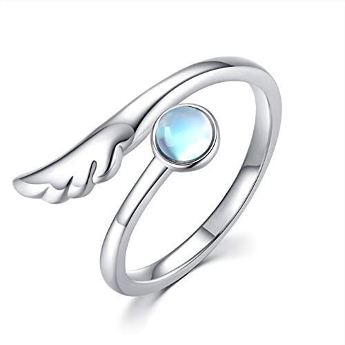 CHENGHONG Angel Wings Ring 925 Sterling Silver Moonstone Feather Ring Adjustable Rings Angel Jewelry Gifts for Women