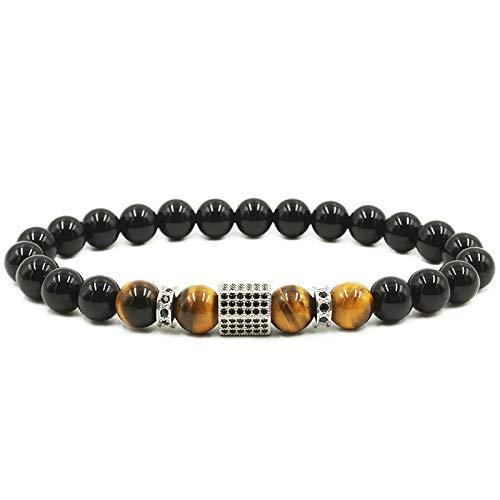 Charms Bracelet Men Pave Setting Black CZ Hexagon Natural Stone Pearl Bracelets & Bangles Men's Jewellery Silver 19 cm