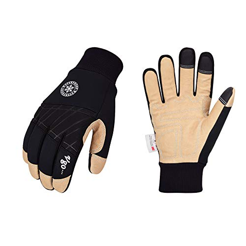 Vgo 1-Pair 32℉ or above 3M Thinsulate C40 Lined Winter Premium Pigskin Leather Waterproof Work Gloves (Size M, Black, PA1015FW)