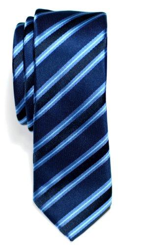 Retreez Cravate Fine Slim À rayures Preppy Tissée en Microfibres de Bleu