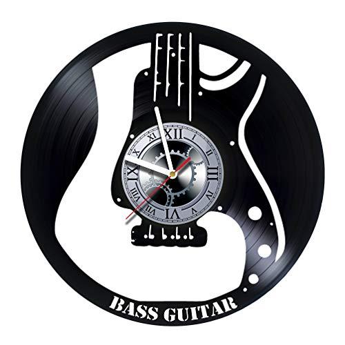 studioRUTART Wanduhr mit Bassgitarre, aus Vinyl-Platte, handgefertigtes Kunst-Design, tolle Geschenkidee für Geburtstag, Hochzeit, Jahrestag, Frauen, Männer, Freunde, Freundin, Freund und Teenager