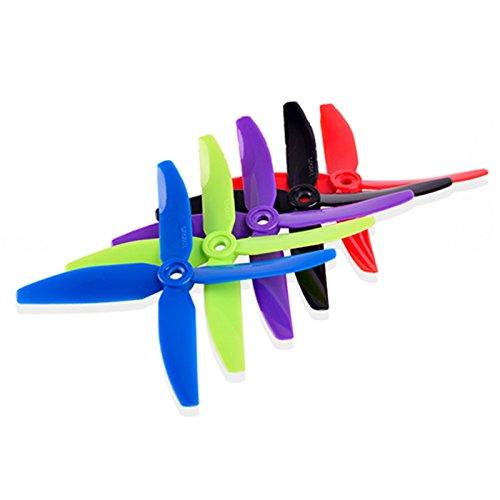 BouBou 5 Pares 5040 Hélice De 4 Palas 5.0Mm Agujero De Montaje para RC Drone FPV Racing Multi Rotor - Púrpura