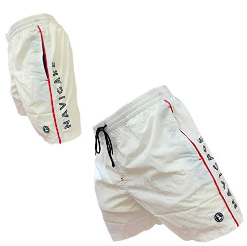 Navigare Boxer Mare Costume Uomo Pantaloncini da Bagno Swim Short 098370 (Bianco 098370, L)
