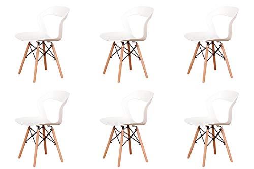Cuatro sillas huecas de estilo nórdico con respaldo, estructura de metal fuerte, limpia y transpirable, para uso en comedor, jardín, sala de estar (blanco, 6)