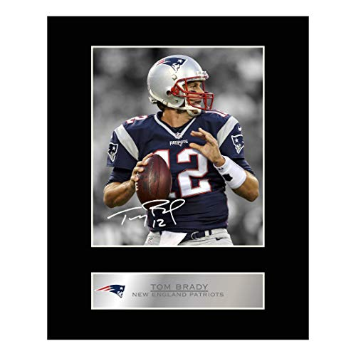 Tom Brady Autogramm-Foto, New England Patriots, Bildausdruck mit Passepartout als Geschenk