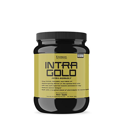 Ultimate Nutrition Intra Gold Workout Energy Supplement - Upgrade Your Endurance and Accelerate Recovery with Carnitine, Ornithine, and Aspartate, 30 Servings, Sour Apple