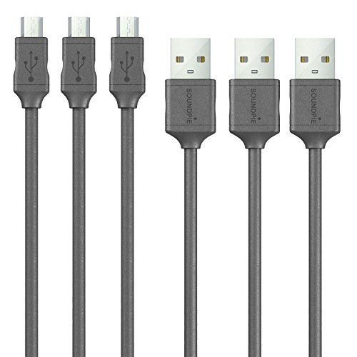 Soundpie Micro USB Cable 3.3ft (1m) 3 Pack - USB 2.0 A to Micro B High Speed - 22AWG Power Rated to 3 amp - Fast Data Sync Charge Cord - Charge Cable for Android Samsung, Cell Phone & Tablet(Black)