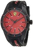 Orologio da uomo analogico al quarzo cinturino in silicone nero e rosso, Scuderia Ferrari 0830248