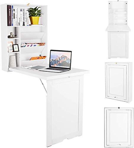RELAX4LIFE Wandklapptisch, Wandtisch klappbar, Schreibtisch mit 2 höhenverstellbaren Regalen, Klappschreibtisch mit Stauraum, Bartisch Holz, Küchentisch Esstisch, Laptoptisch multifunktional (Weiß)