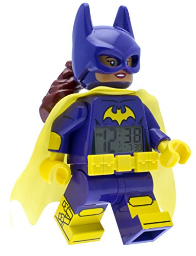Lego Batman Movie 9009334 Batgirl Kids Minifigure Alarm Clock | Purple/Yellow | Plastic | 9.5 Inches Tall | LCD Display | Boy Girl | Official