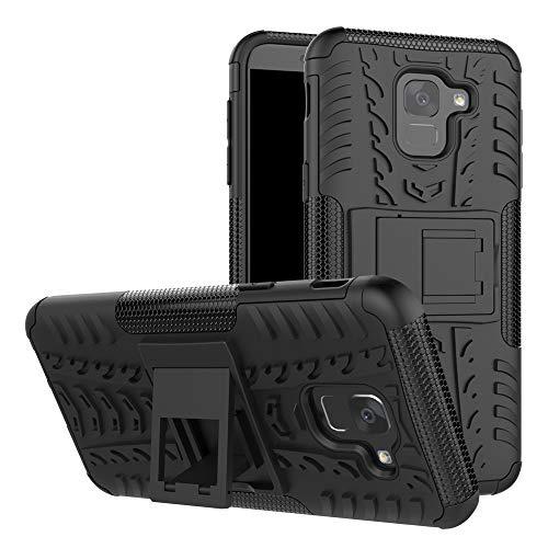 betterfon   Outdoor Handy Tasche Hybrid Case Schutz Hülle Panzer TPU Silikon Hard Cover Bumper für Samsung Galaxy J6 SM-J600 Schwarz