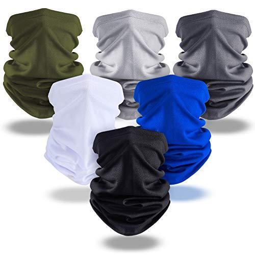 SATINIOR Summer UV Protection Face Covers Neck Gaiter Breathable Summer Bandana(Black, Royal Blue, Army Green, Dark Grey, Light Grey, White, 6 Pieces)