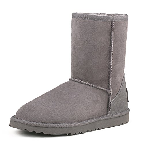 Shenduo Women's Water Resistant Boots Classic Mid-Calf Snow Boots D9125 Grey 5.5UK 39