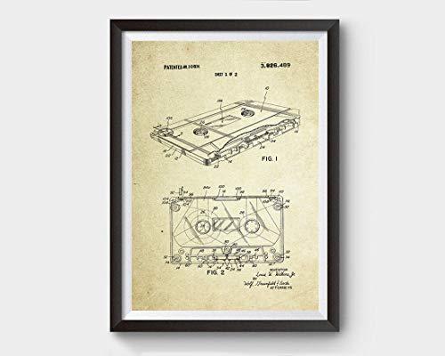 Poster 'Cassette Patent (1974, Louie W. Watkins Jr.) senza cornice, stampa artistica da parete con citazione motivazionale