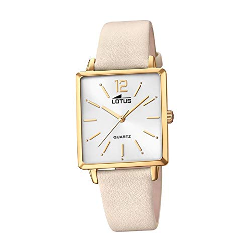 LOTUS Reloj Modelo 18713/1 de la colección Trendy, Caja de 29,00/27,00 mm Plata con Correa de Cuero Beige para señora