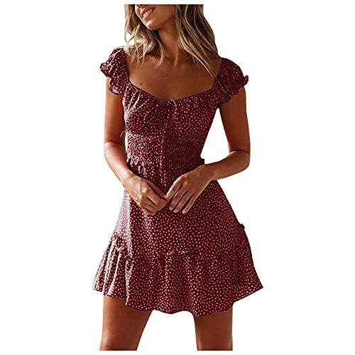 Damen Blumen Sommerkleid High Waist Volant Kleid Vintage Minikleid Strandkleid Sommer Knielang Kleider Boho V Ausschnitt Vintage Elegant Kleider Festkleid Abendkleider Partykleid
