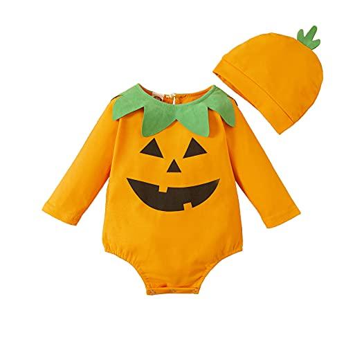I3CKIZCE Halloween calabaza niña niño ropa pelele bebé mono unisex niño vestido naranja top + sombrero + calcetines / ropa regalo bebé 0-24 m, Fantasma, 0-3 meses