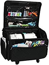Everything Mary 4 Wheels Collapsible Deluxe Sewing Machine Storage Case, Black - Rolling Trolley Carrying Bag for Brother, Singer, Bernina & Most Machines - Travel Tote Organizer for Accessories