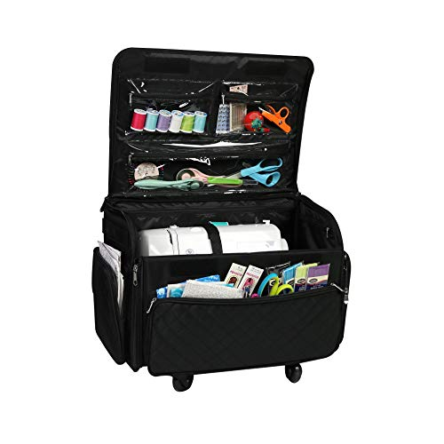 Buy Cheap Everything Mary 4 Wheels Collapsible Deluxe Sewing Machine Storage Case, Black - Rolling T...
