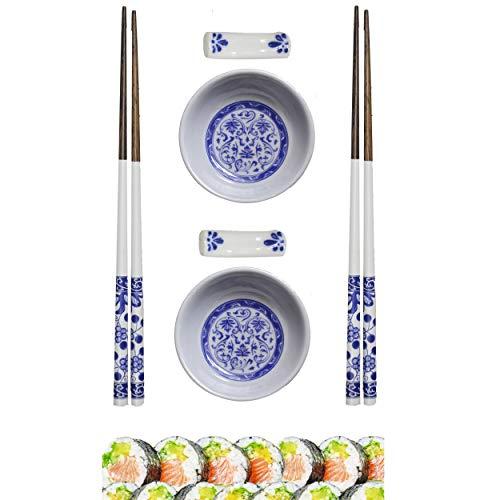 Hogar y Mas Sushi Kit Completo para 2 Personas, Palillos Chinos, Cuenco Melamina Azul, Accesorios Set 6.