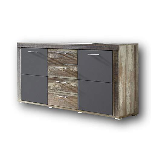 CROWN X Sideboard in Driftwood Optik, Graphit - moderne & ausdrucksstarke Softclose Kommode für Ihren Wohnbereich - 148 x 88 x 45 cm (B/H/T)