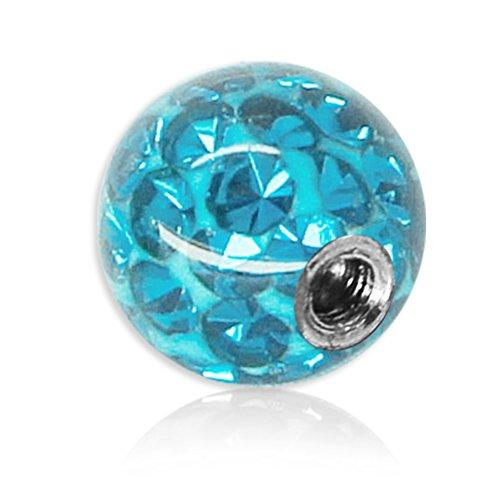 SoulCats® Piercing Kugel Schraub Ersatzkugel Kristall Gel Epoxy Ferido viele Größen, Farbe:hellblau, Gewinde:1.6 mm, Kugelgröße:6 mm