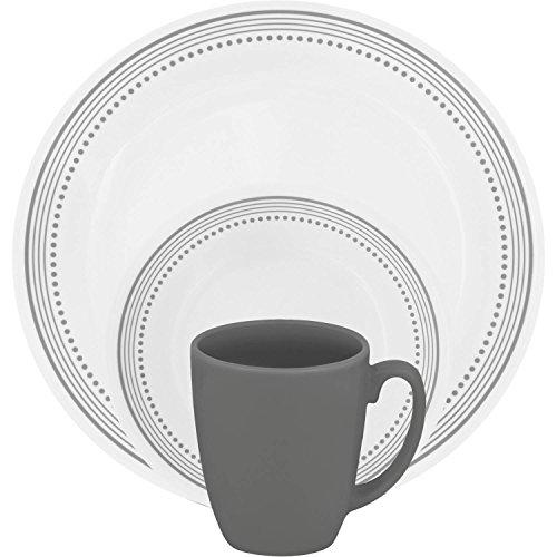 Corelle 16 Piece Pattern of Bands & Dots Livingware Dinnerware Set, Versatile Gray