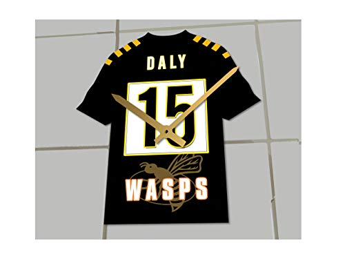 MyShirt123 Rugby Union – Rugby-Shirt Uhr – jeder Name & Jede Nummer – Sie wählen!, Wasps Rugby RFC, 19.5CM X 18CM X 0.5CM