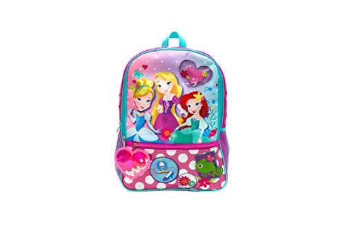 Disney Girls' Princess Backpack with Dangle, Pink, One Size
