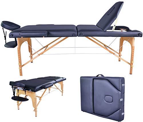 AVGDelas Black PU Reiki Portable Heigh Adjustable Massage Table w/Carry Case U9 Carry Case Facial Cradle Salon Tattoo Bed