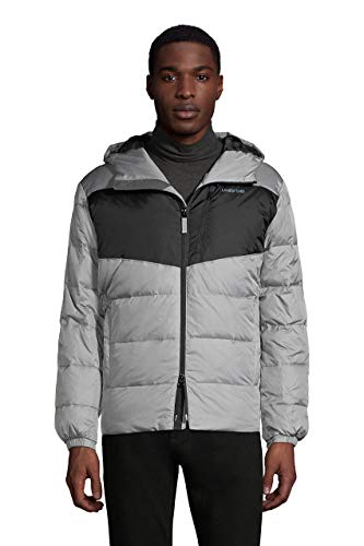 Lands' End Mens Expedition Down Puffer Jacket Cement Gray Regular X-Large