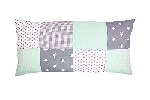 ULLENBOOM ® patchwork kussenhoes l 40x80 cm l katoenen kussenhoes voor sierkussens in de kinderkamer en babykamer I mint grijs