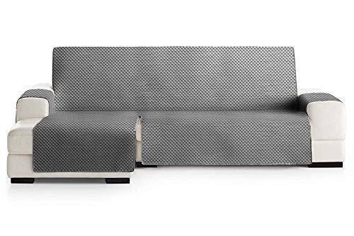 Energy Colors Textil - Hogar Funda Cubre Sofá, Protector para Sofás Acolchado Reversible. (Gris, Chaise Longe Izquierdo 240_cm)
