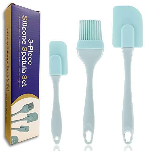 Espátulas silicona, 3 espátulas silicona resistentes al calor, espátulas de silicona para cocinar, espátula de crema de silicona integrada multifuncional para hornear y mezclar (azul)