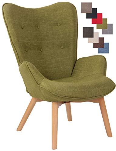 CLP Poltrona Soggiorno con Orecchie Durham in Stoffa E Legno di Faggio I Sedia Lounge Salotto Design Ispirazione Chesterfield, Colore:Verde