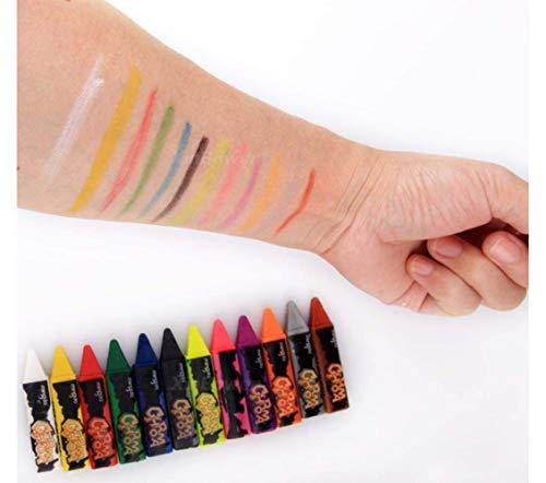 Jsmhh 12.06 Farben Face Painting Körper Bleistifte Splicing Struktur Wachsmalstift Malerei, 6 Farben (Color : 12 Colors)