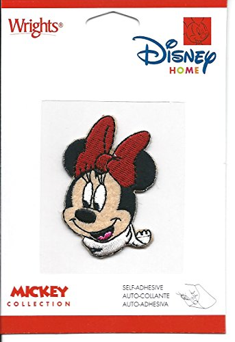 Wrights Disney Home Mickey Collection Minnie Mouse in White Winter Scarf 1.5' x 2' Embroidered Patch