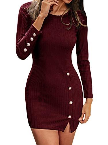Minetom Herbst Winter Strickkleid Damen Sexy Langarm Mini Enges Kleid Slim Knopf Tuniken Pullover Bodycon Pakethüfte Blusenkleid Partykleid Weinrot...