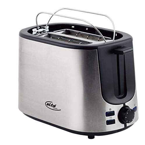 Elta Toaster Silver Line ETO-850.15S (800 Watt, 2 Scheiben, inklusive Brötchenaufsatz, 7 Stufen, Auftau-Funktion, einfache Reinigung, schwarz, edelstahl), Farbe:silber