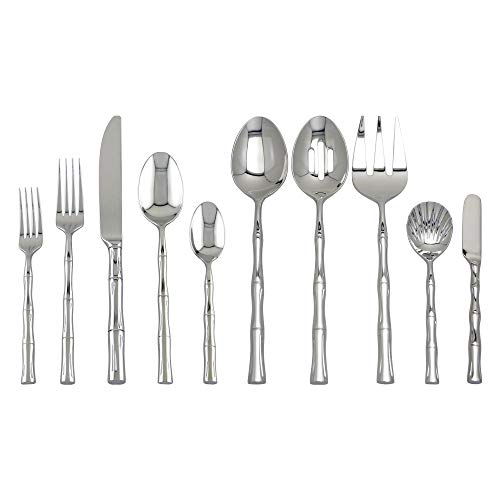 Supreme 45-Piece 18/8 Stainless Steel Bamboo Flatware Set, Service for 8, Include Knives/Forks/Spoons/Teaspoons/Salad Forks/Serving Fork/Serving Spoon/Butter Knife/Sugar Shell, Mirror Polished
