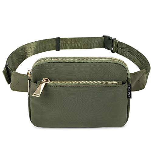 ZORFIN Fanny Pack for Women Men Fashion Waist Bag Water Resistant Hip Bum Bag with Adjustable Belt for Travel Hiking Cycling Running(Green)