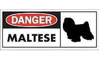 DANGER MALTESE ワイドマグネットサイン:マルチーズ(ロングヘアー) Mサイズ